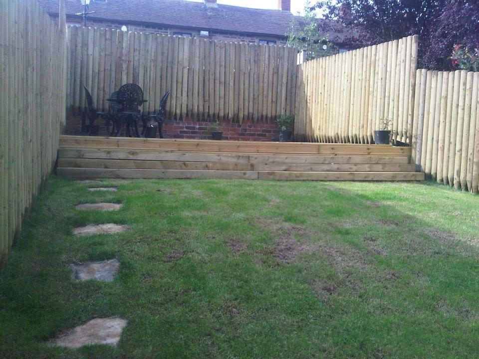 decking work at top of garden